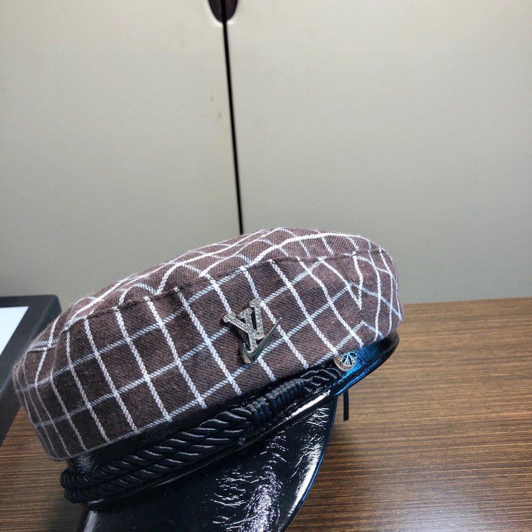 LV经典格纹八角帽军帽走秀款专柜同步