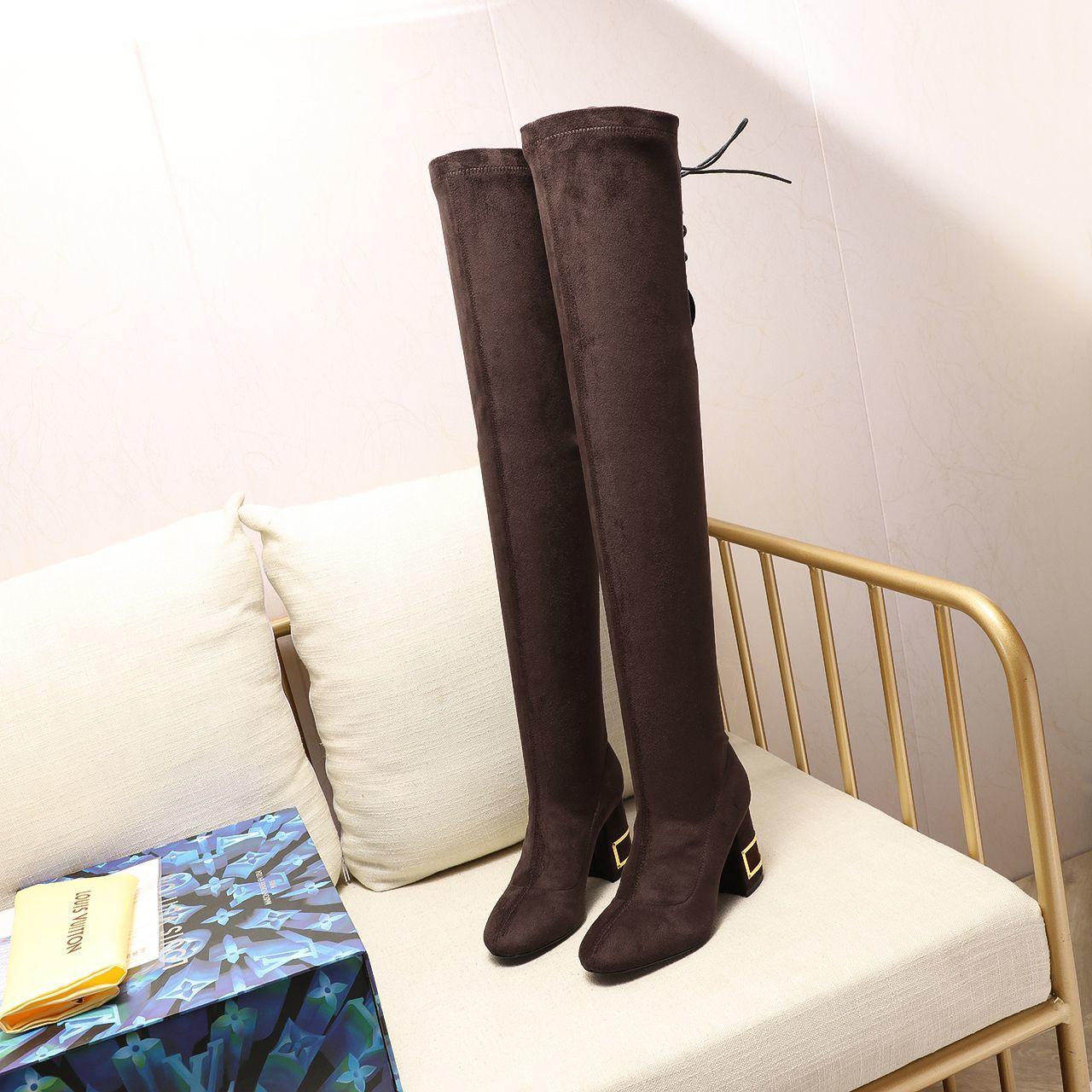 LV2020秋冬新款及膝长靴爱上牛仔