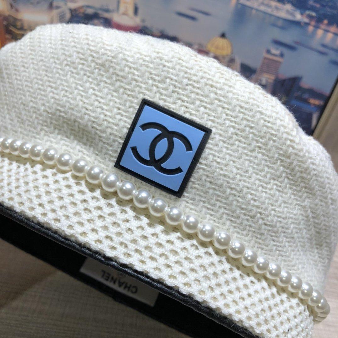 CHANEL香奈儿珍珠贝雷帽羊毛材质