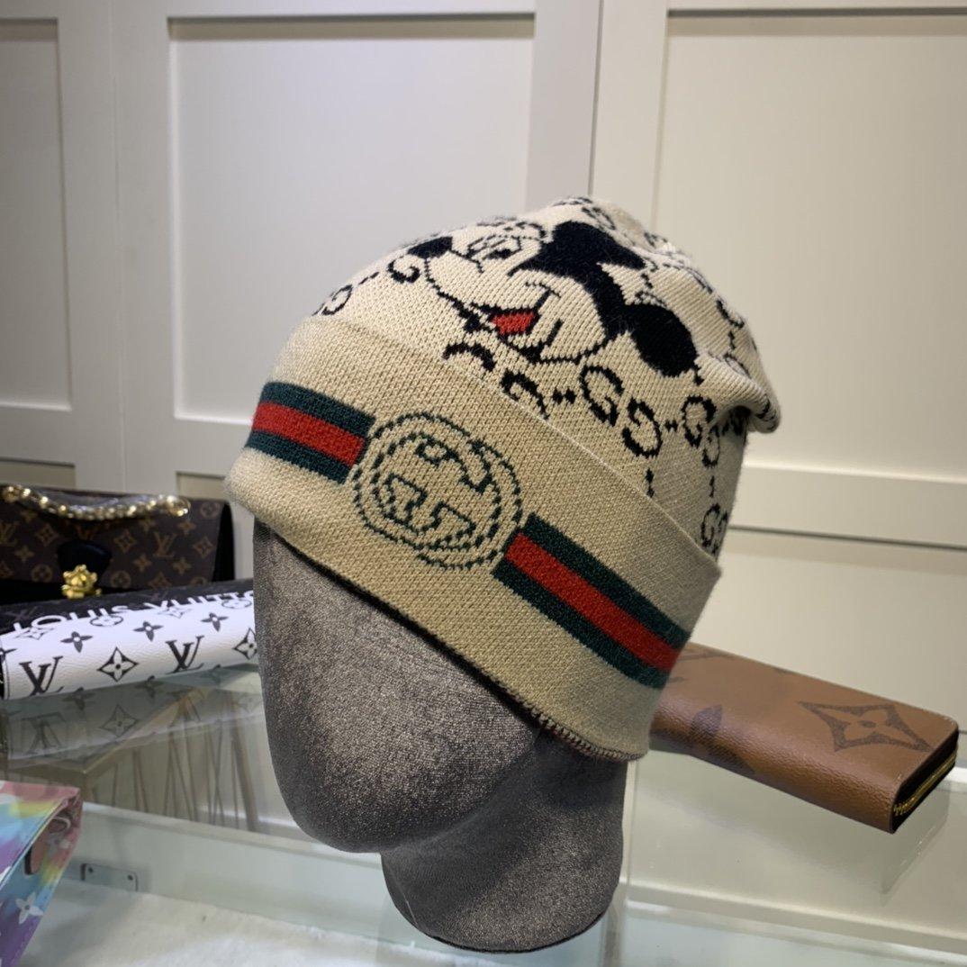 古奇GUCCI经典米奇图案针织帽羊绒