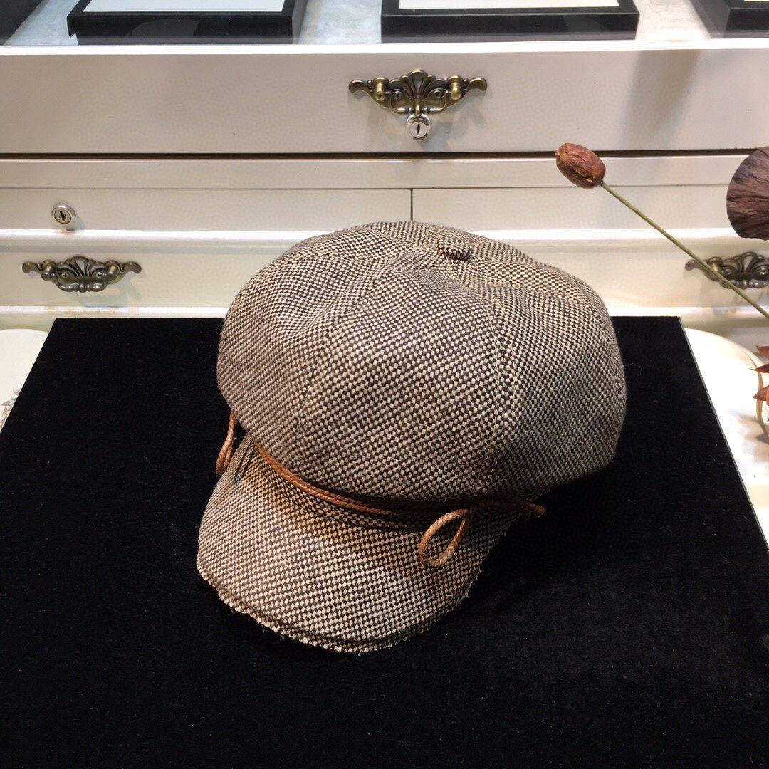 上新古奇GUCCI八角帽细节做工精致