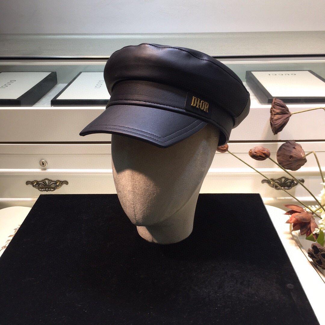 上新迪奥Dior新品皮海军帽立体方沿