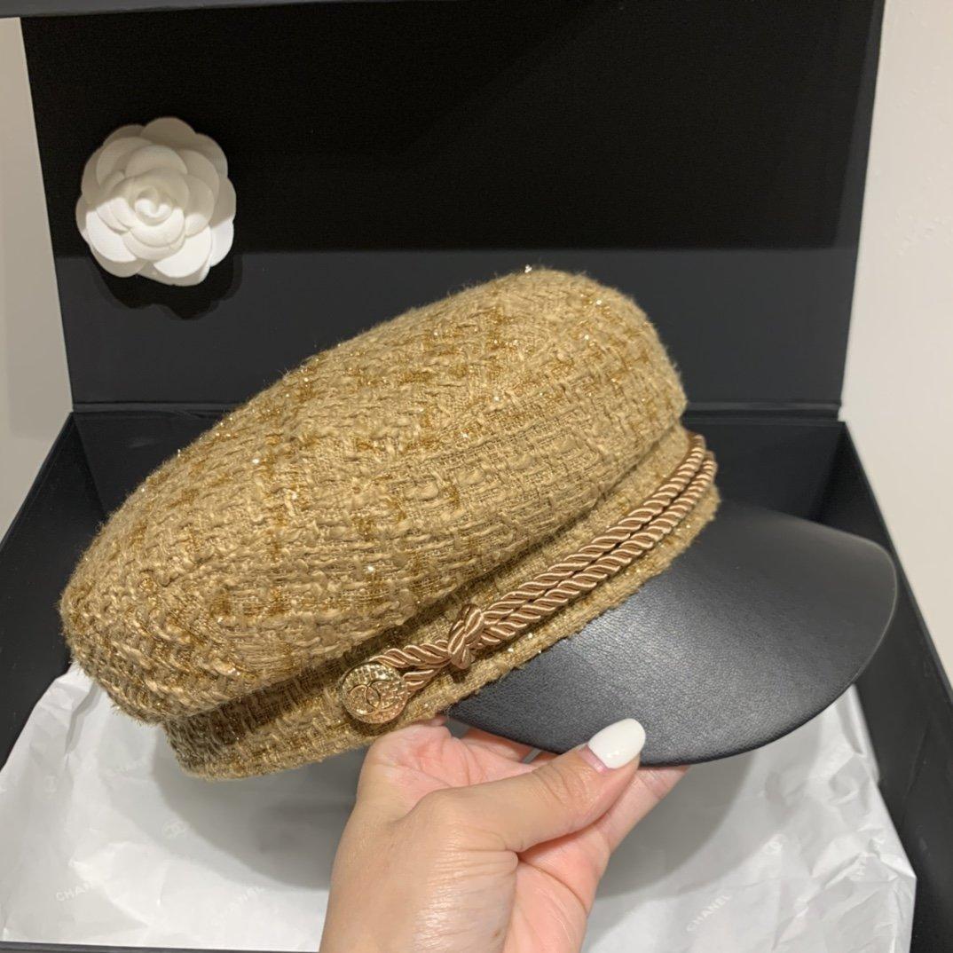 Chanel香奈儿名媛鸭舌军帽毛呢面