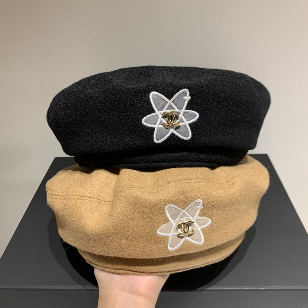 Chanel香奈儿羊绒贝蕾帽秋季搭衣