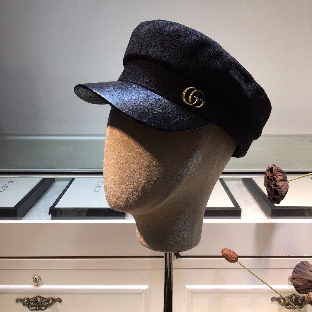 上新古奇GUCCI新款军帽拼接皮帽檐