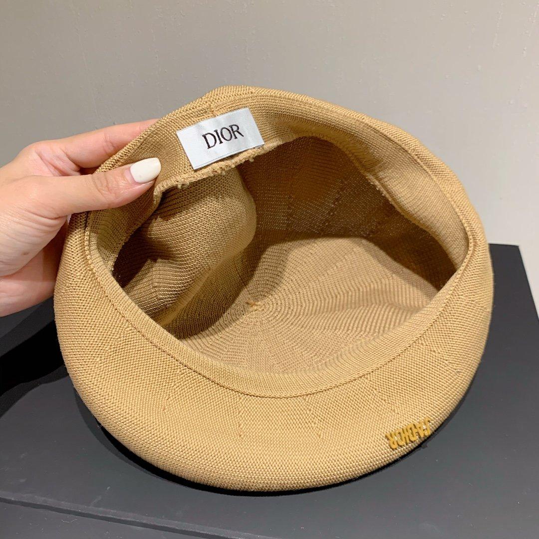 Dior迪奥新款条纹贝蕾帽针织南瓜帽