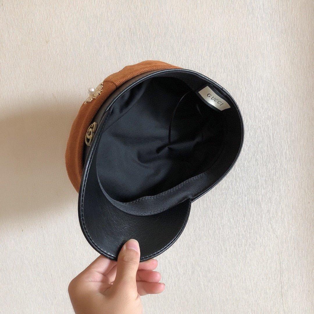 GUCCI军帽八角帽双Glogo搭配