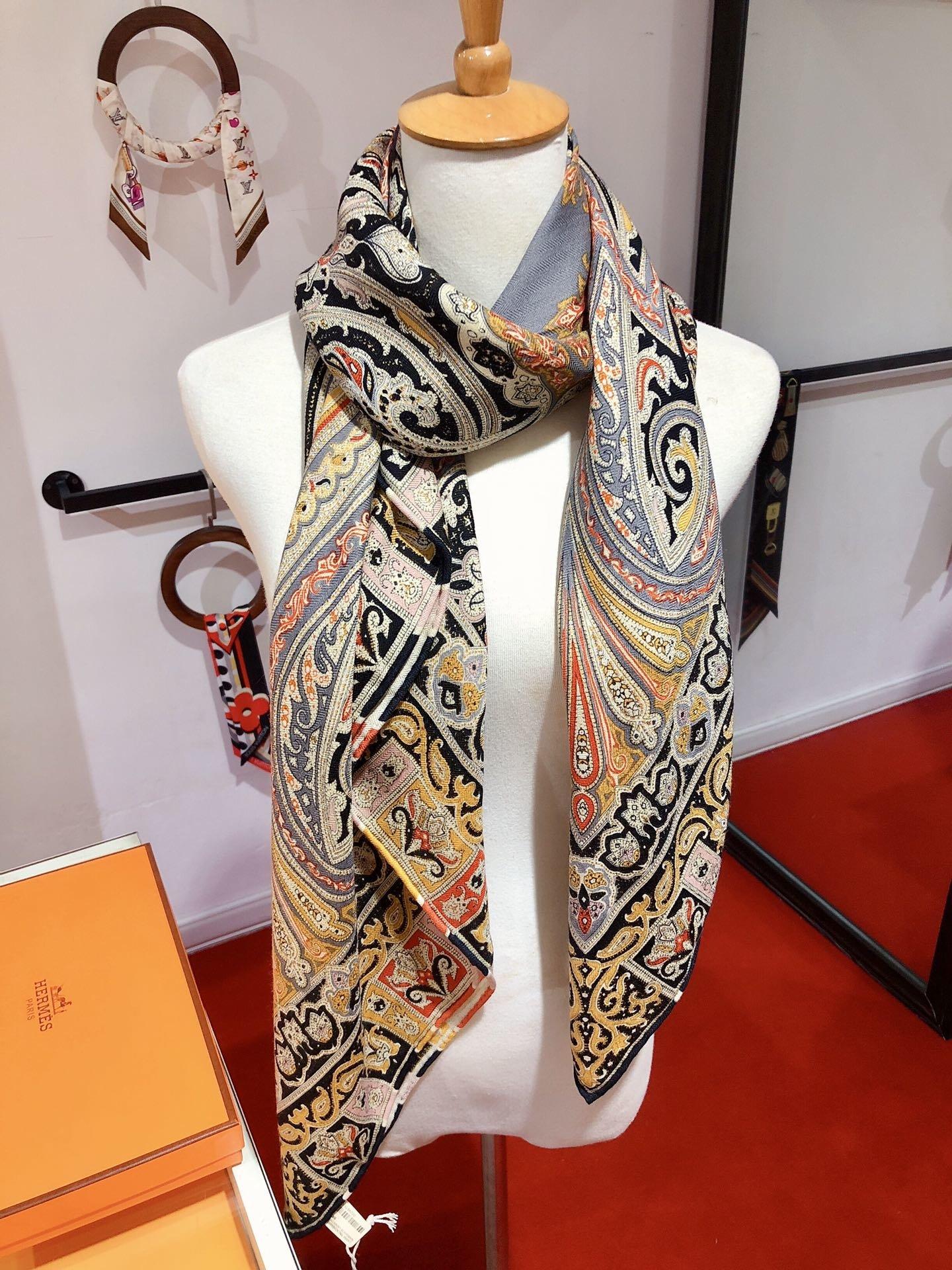 爱马仕新款140cm版丝绒方巾富丽华