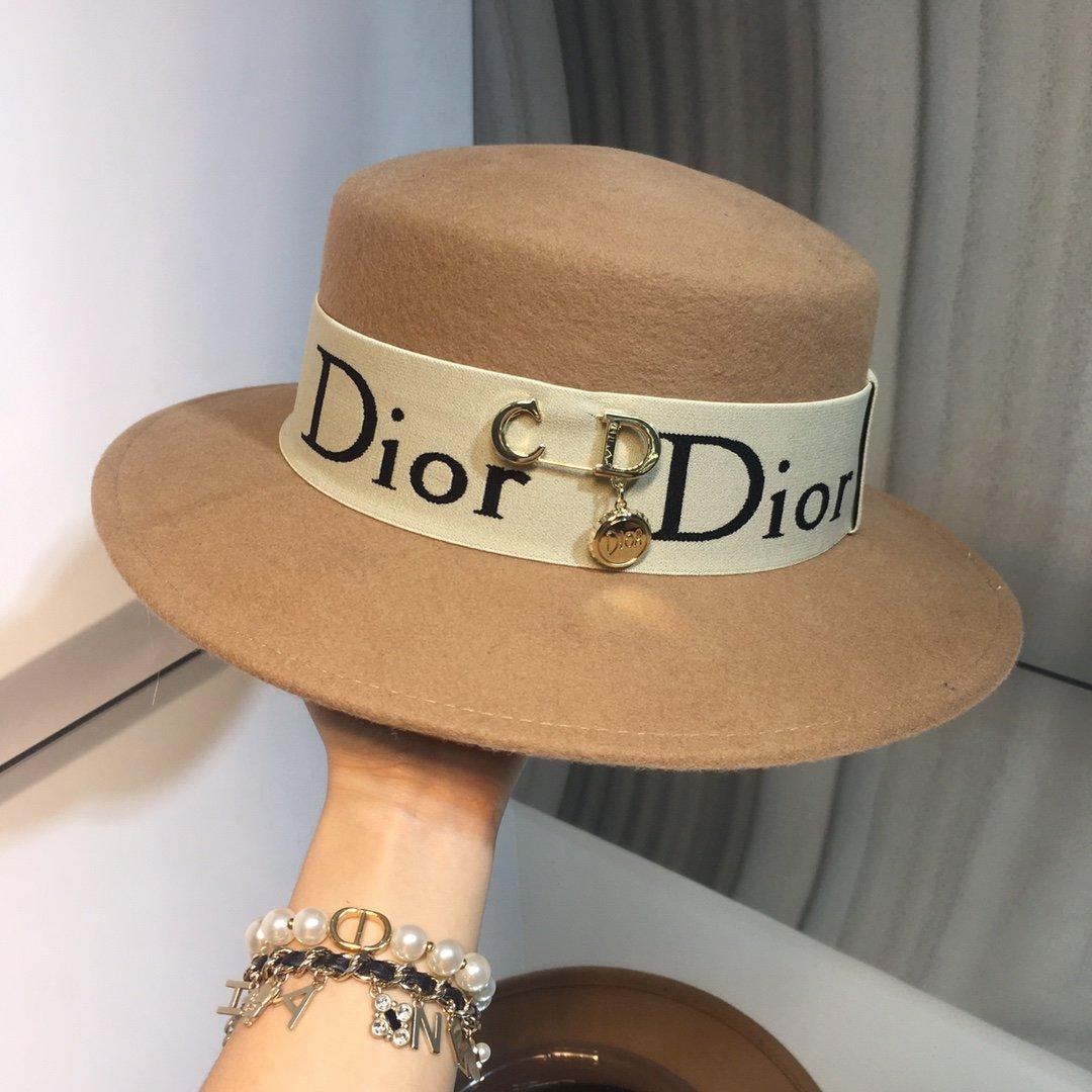 上新Dior迪奥原单字母礼帽平顶羊毛