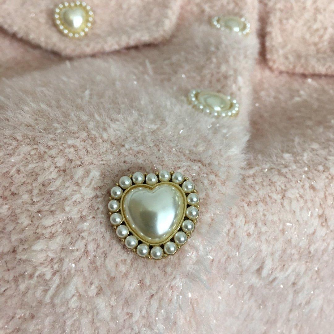 Chanel新款名媛气质珍珠单排扣长