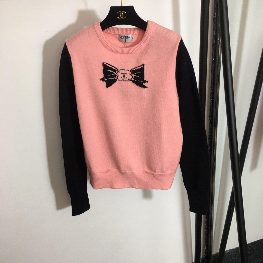 Chanel新款蝴蝶结图案拼色长袖套