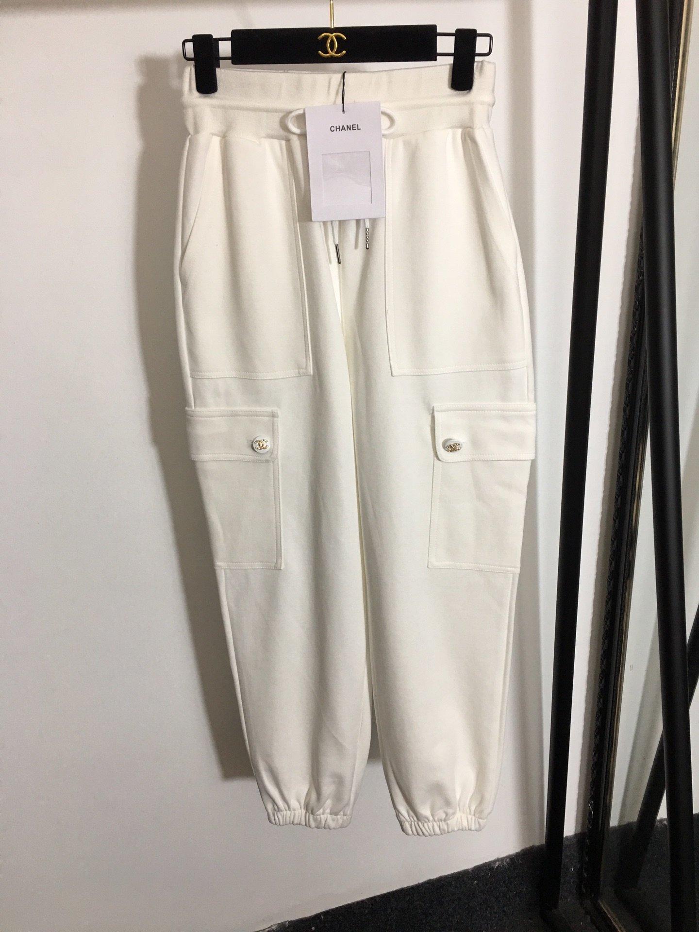 Chanel新款松紧高腰工装休闲卫裤