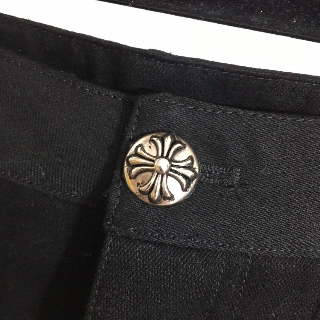 克罗心新款拼皮十字架高腰牛仔裤黑色S