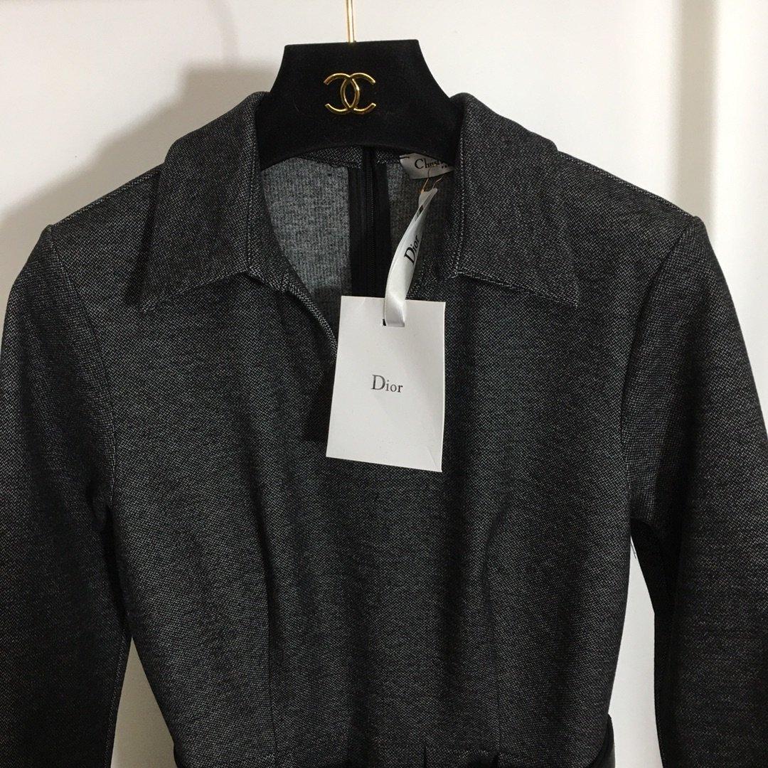 Dior新款CD皮带收腰大摆长袖连衣