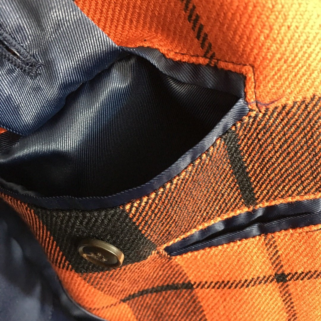 Button*新款系带收腰羊毛呢格子