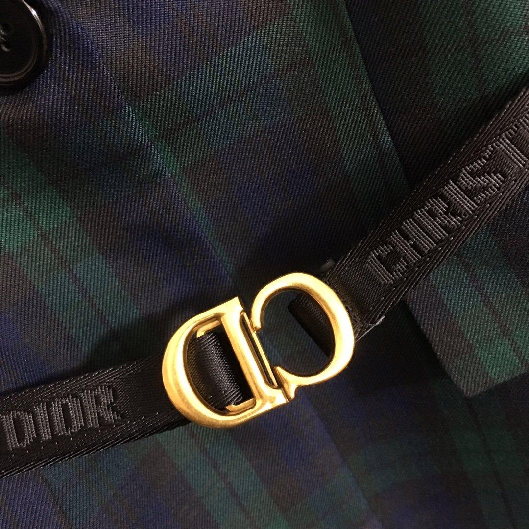 Dior新款CD腰带收腰撞色格子西装