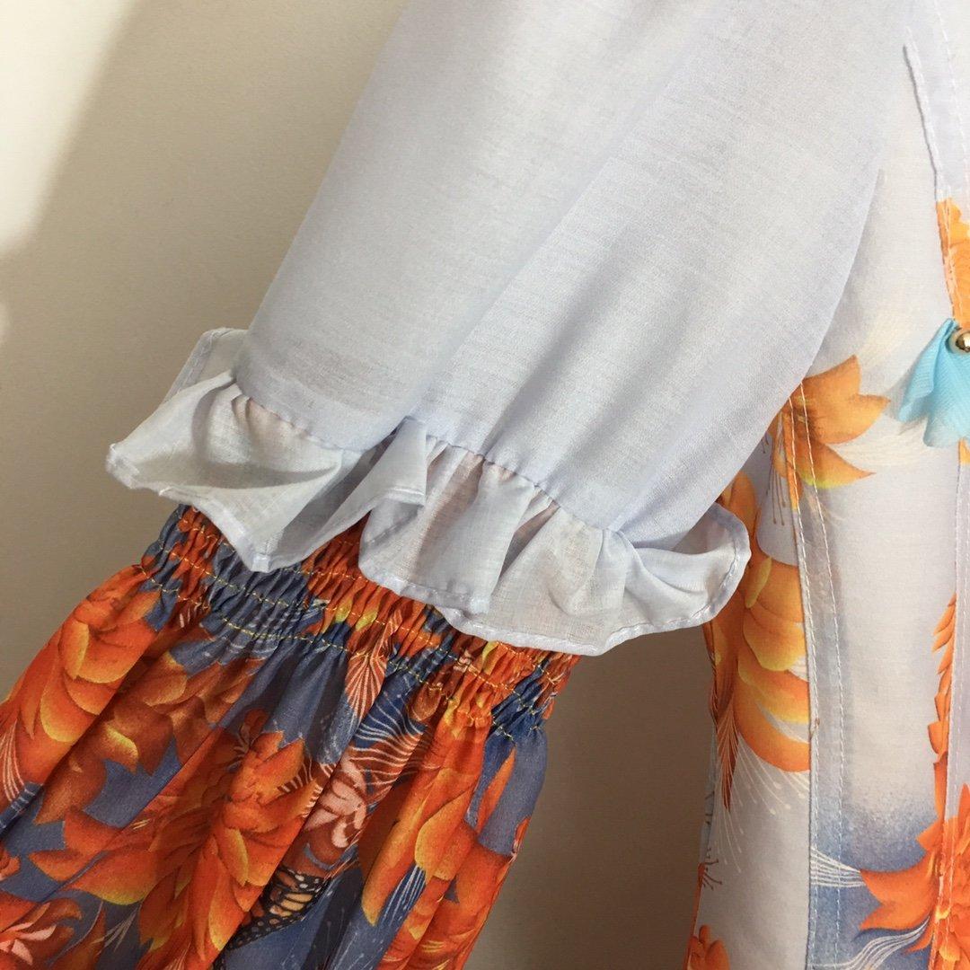新款立体花朵钉珠荷叶边灯笼长袖蓬蓬连