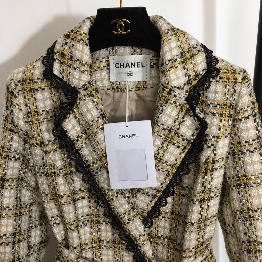 Chanel新款系带收腰双排珍珠扣蕾
