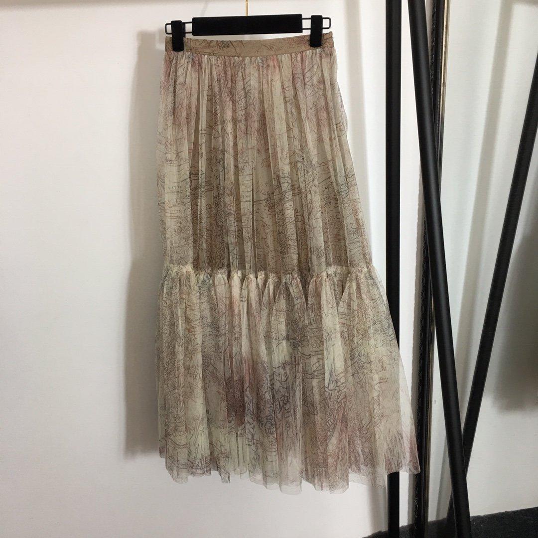 Dior新款气质优雅高腰印花网纱半裙