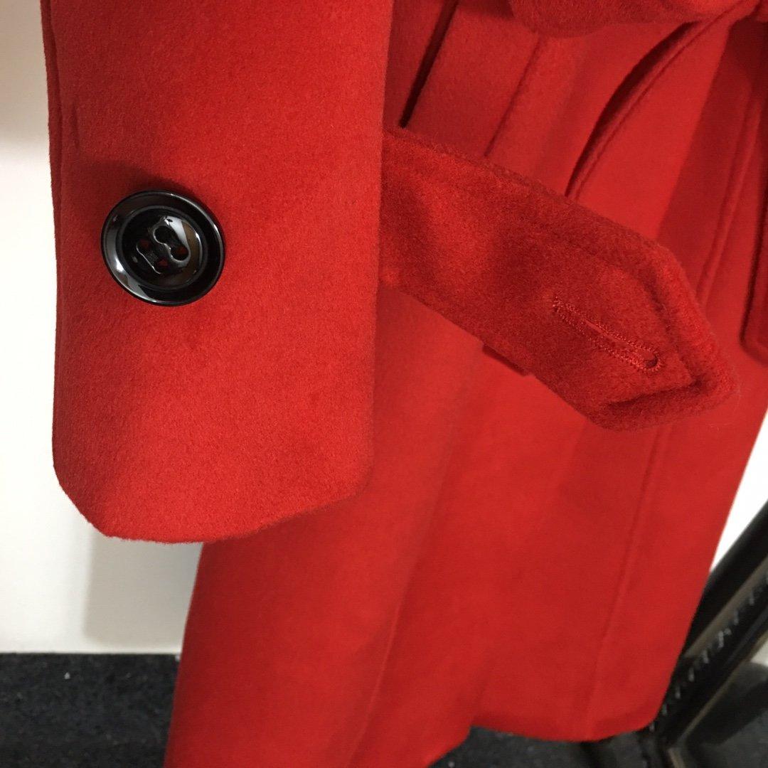 Dior新款系带收腰双排扣中长款修身