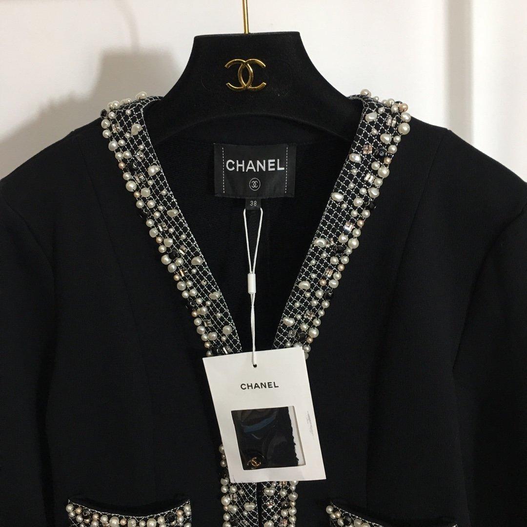 Chanel新款名媛小香风手工钉珍珠
