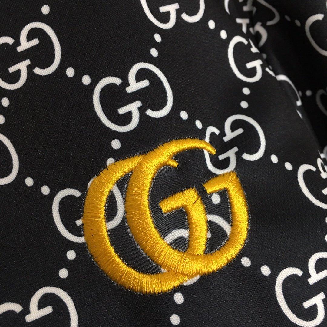 Gucci新款双G字母印花长袖拉链外