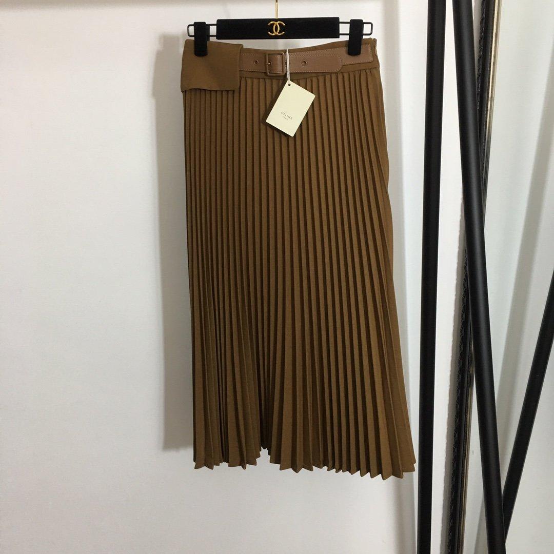 Celine新款个性设计半腰带拼接高