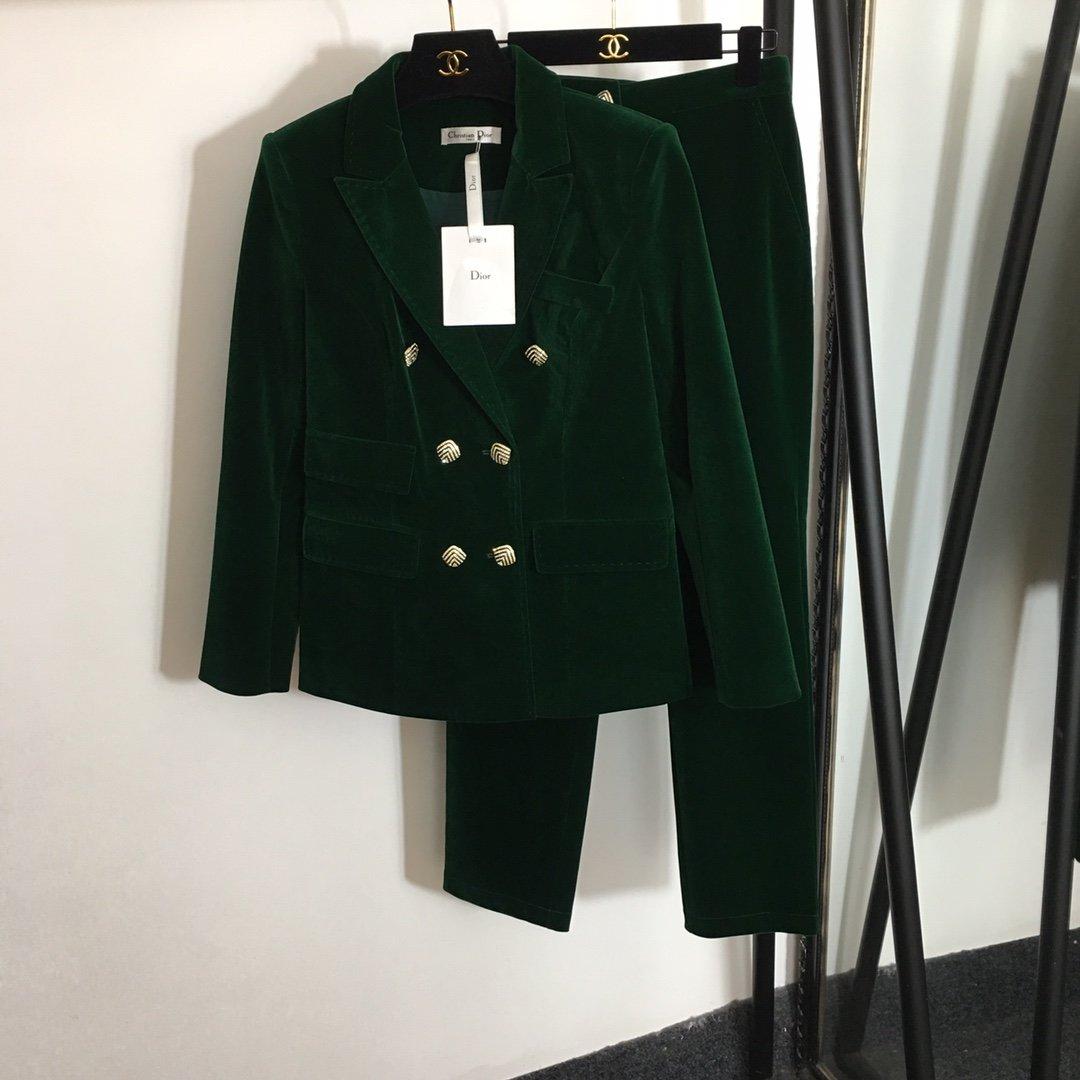 Dior新款闪钻双排扣丝绒西装外套+