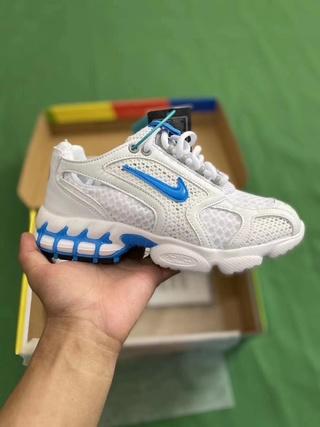 "⚠️真气垫⚠️斯图西白蓝 x Nike Air Zoom Spiridon Caged 2″Black/Grey Cool""斯皮里东牢笼2代系列复古休闲运动慢跑鞋 码数36-40"