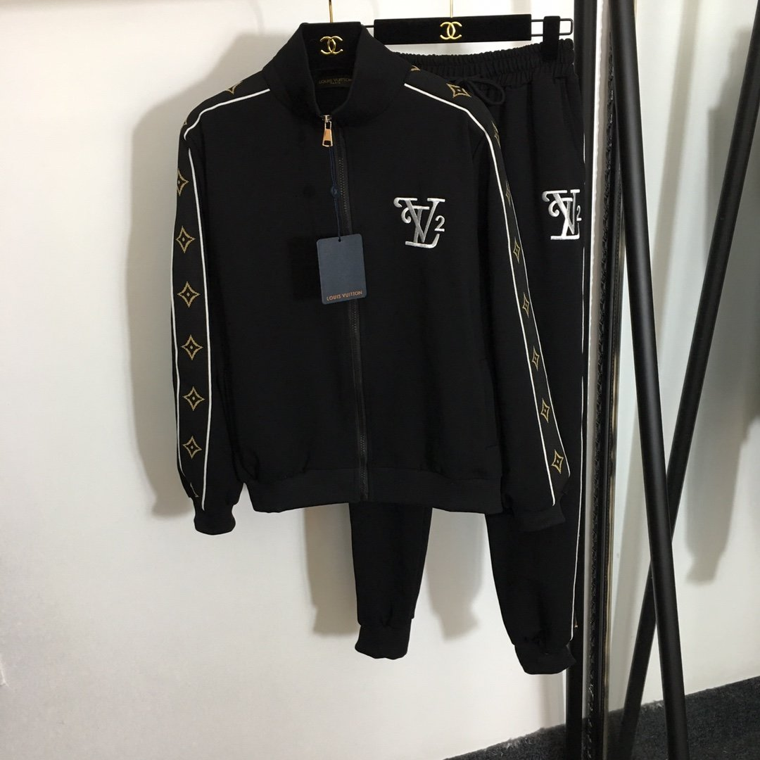 LV新款刺绣字母织带边长袖拉链外套+