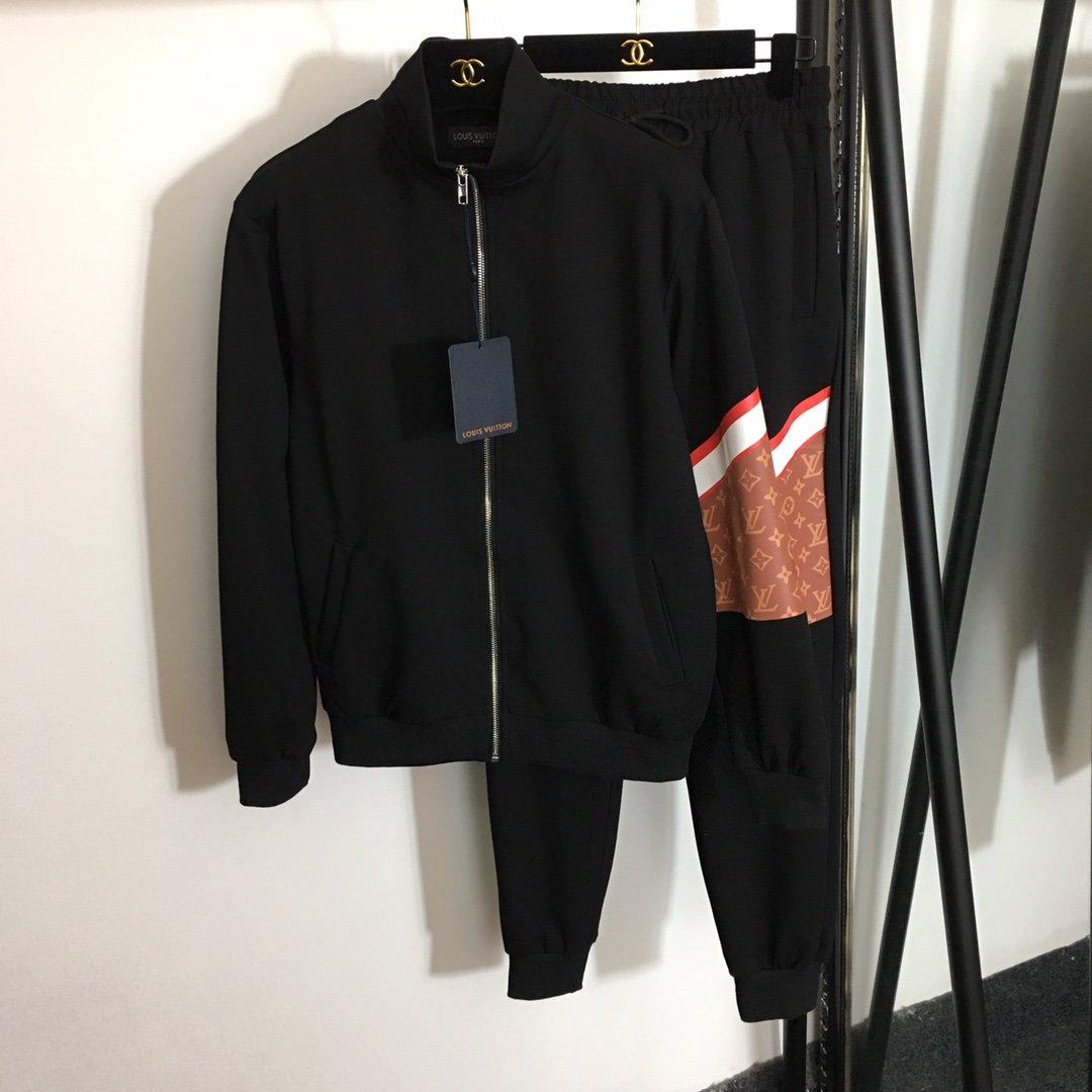 LV新款logo拼色印花长袖拉链外套