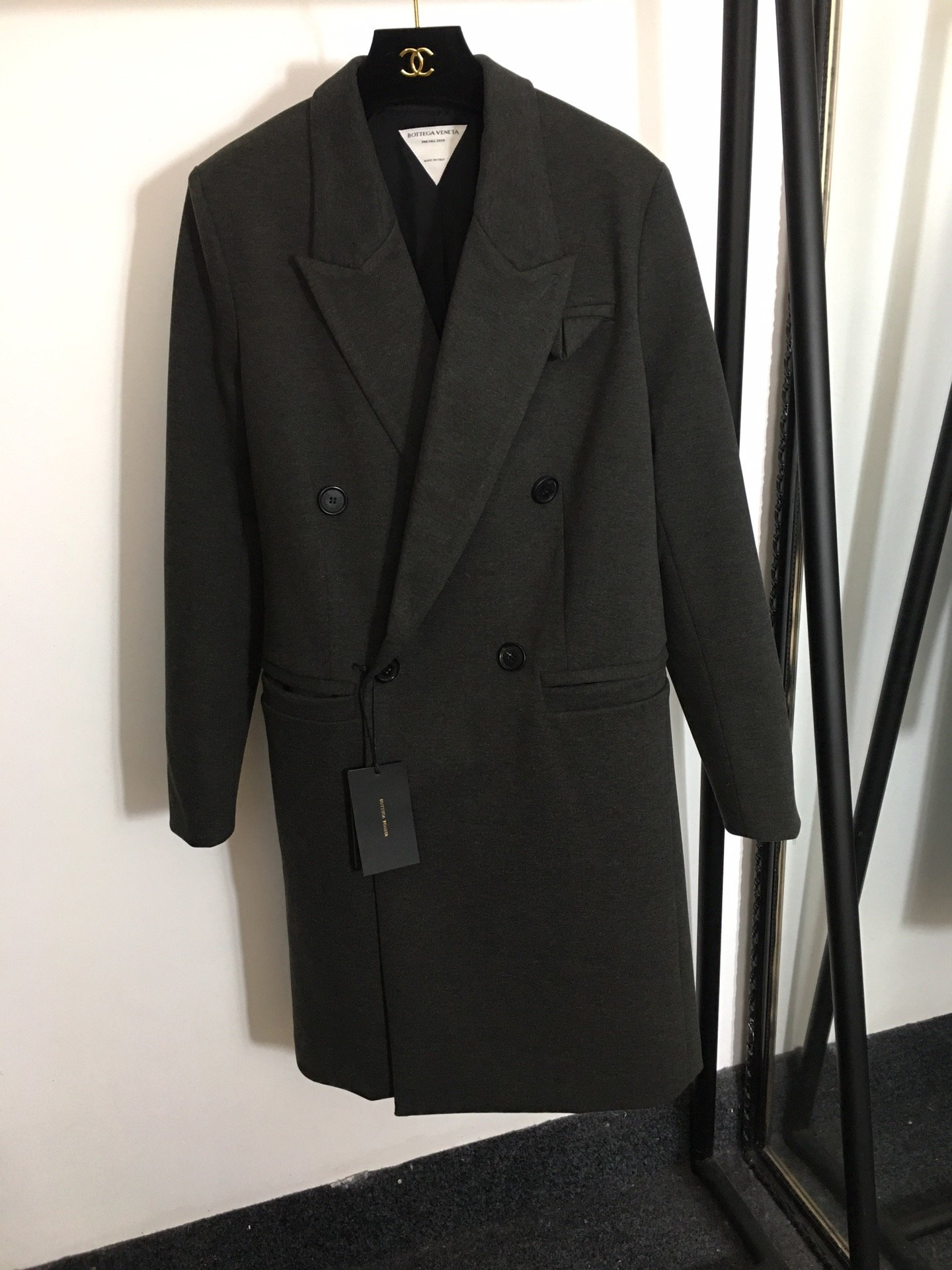 BV新款时尚双排扣毛呢大衣中长款西装