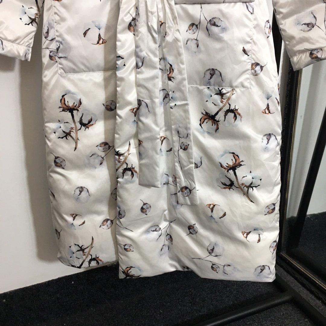 新款满身蒲公英印花系带收腰宽松长袖长