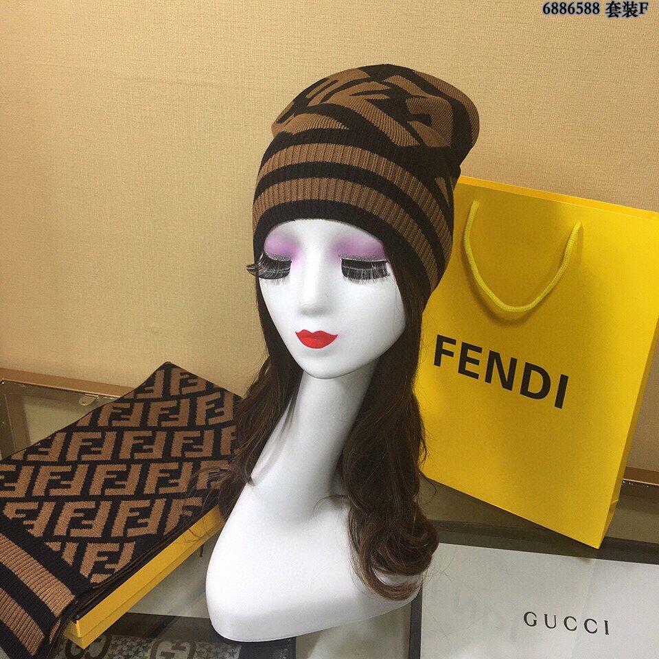 FENDI芬迪官网最新羊毛针织帽子围