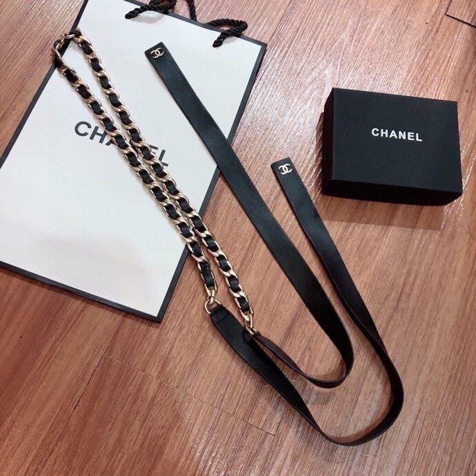 实拍Ch@nel最新编织腰链两色黑色