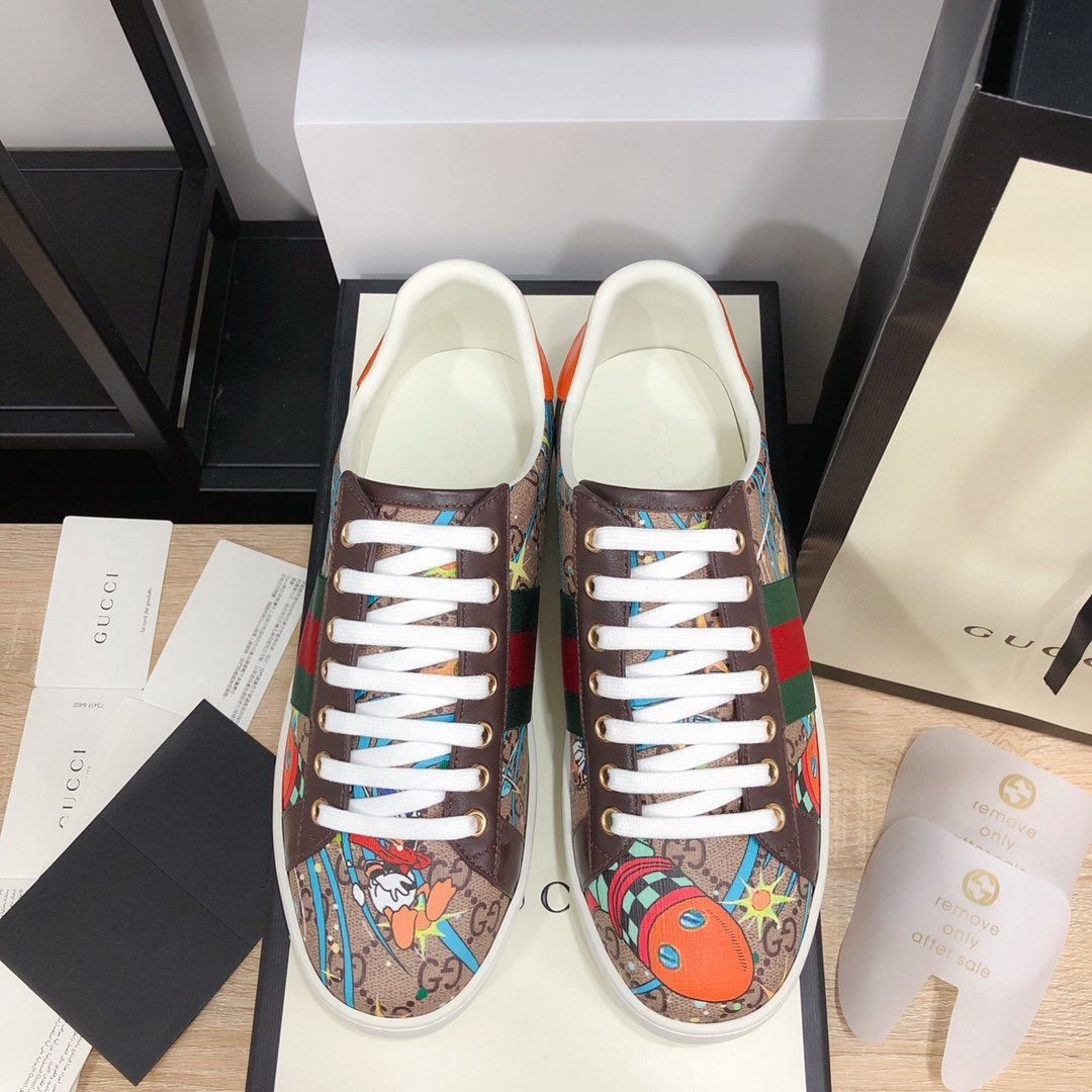 Gucci顶级版本GG情侣款小白鞋近