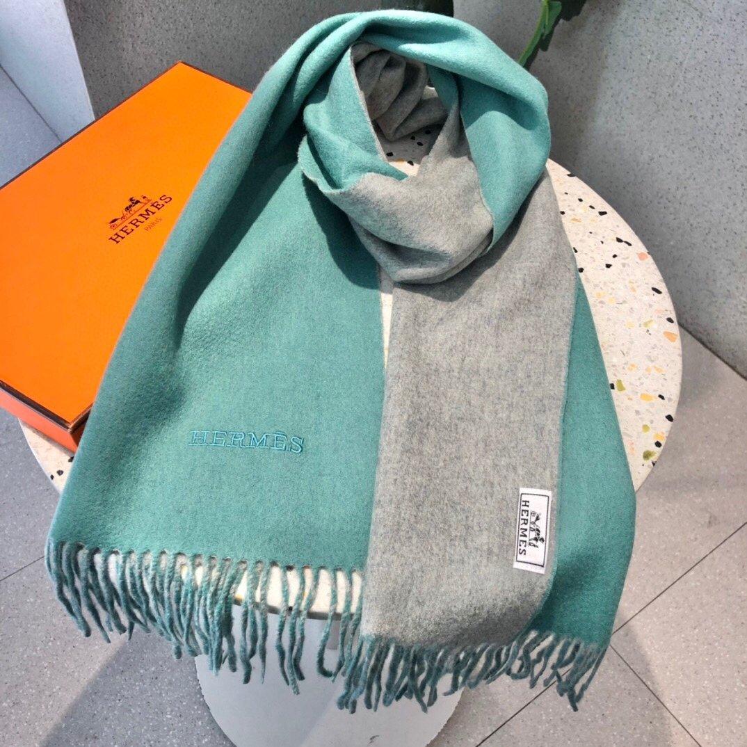 爱马仕双面羊绒同款围巾且买且珍惜羊绒