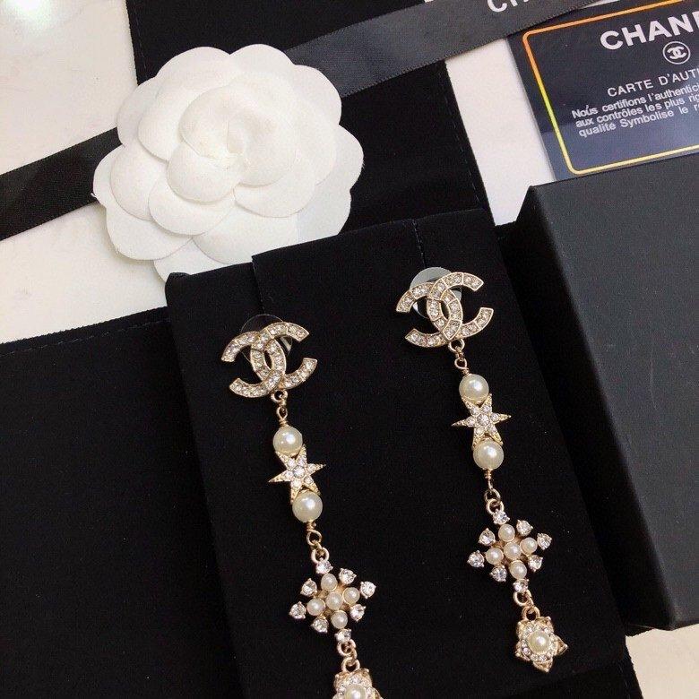 Chanel小香长款耳钉原版品质纯银