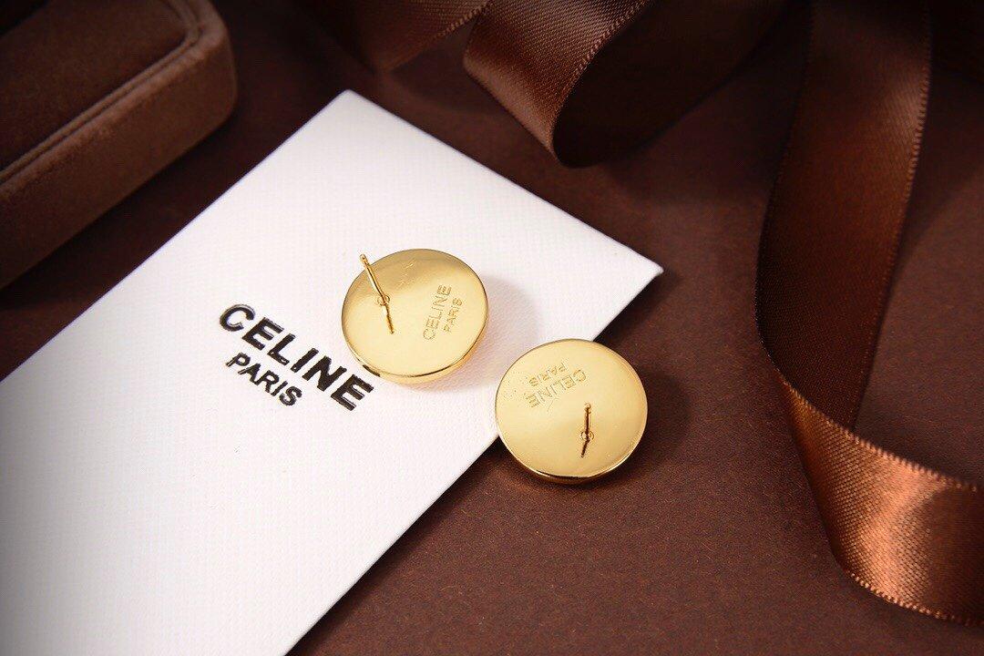 Celine新款艺术感十足圆形耳钉黄