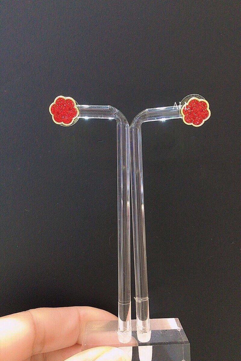 王一博同款奥地利水晶花开耀吉套装红色