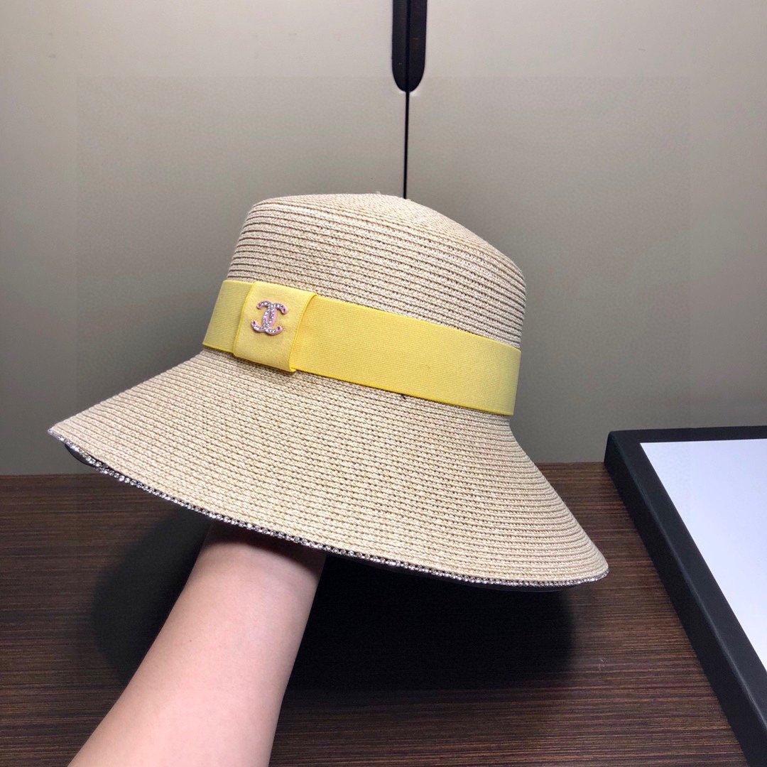 P香奈儿CHANEL平顶礼草帽马卡龙