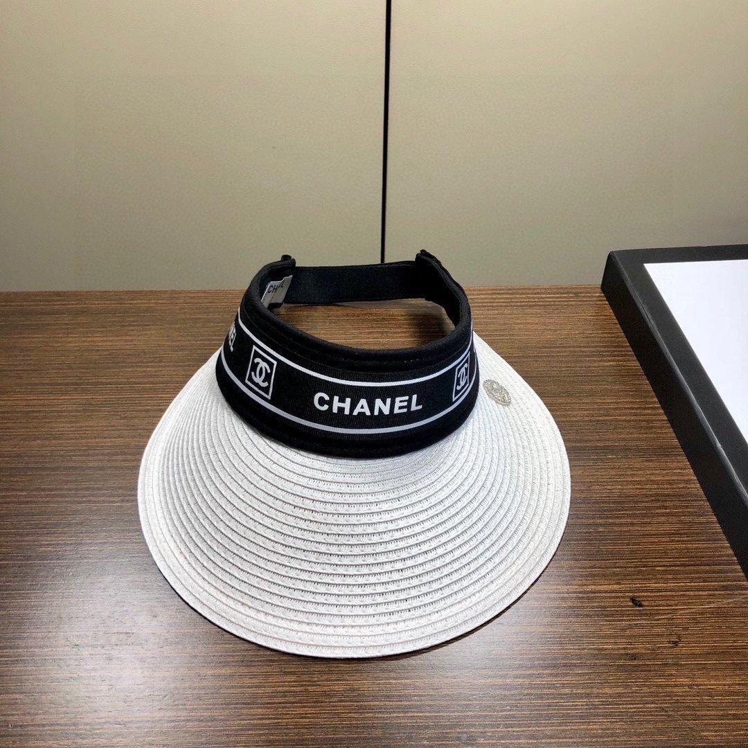 Chanel香奈儿新款空顶帽草帽重工