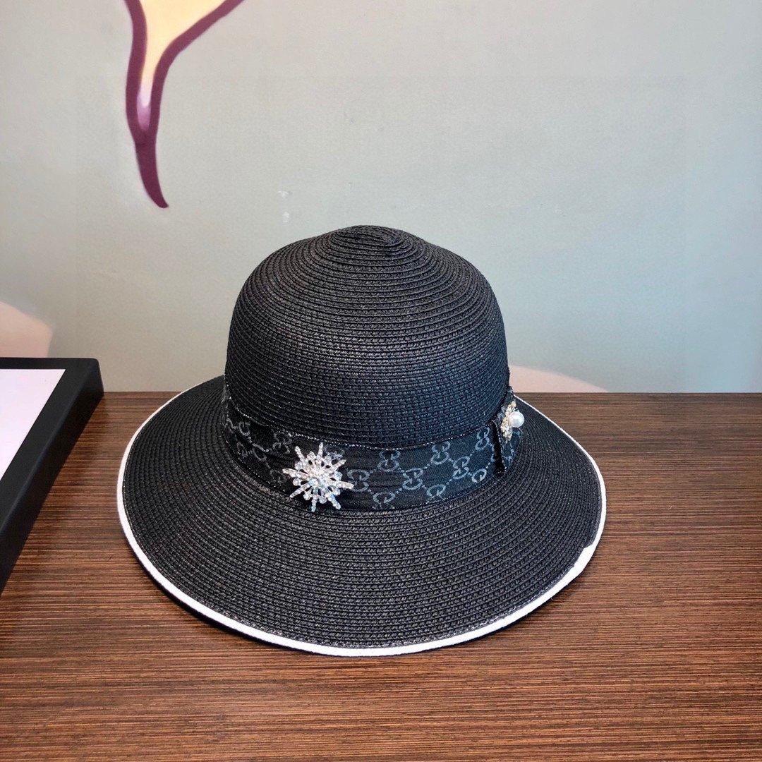 Gucci古奇经典蜜蜂草帽太阳帽名媛