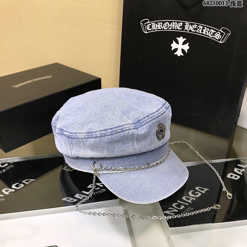 克罗心原单新款军帽牛仔布面料链条复古