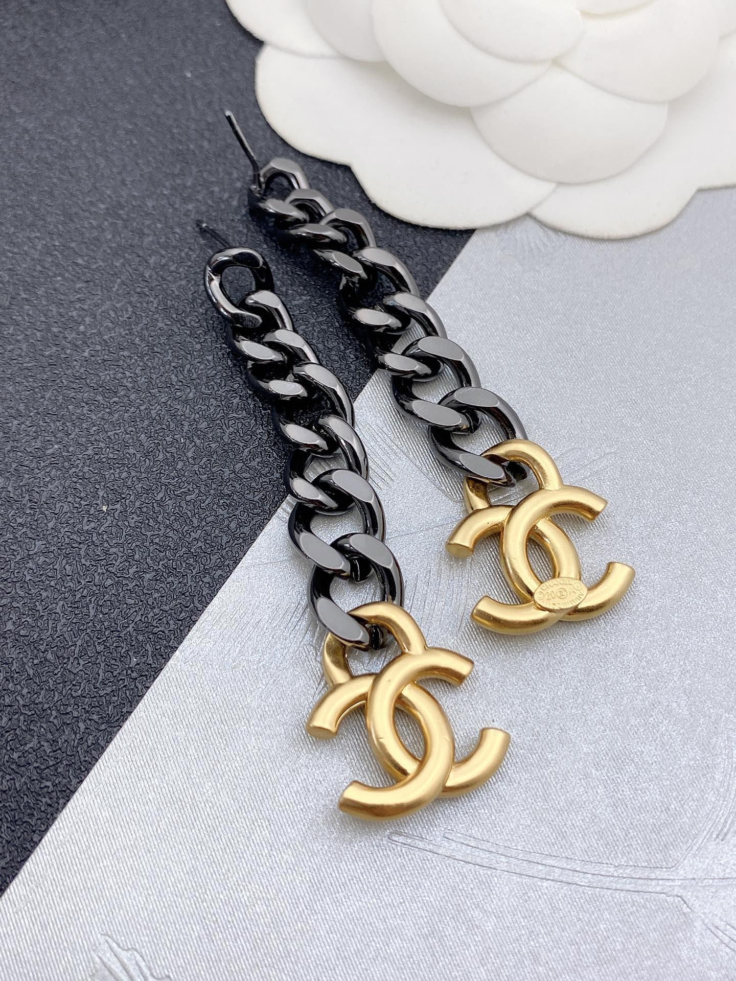 小香新款拼色链条耳环