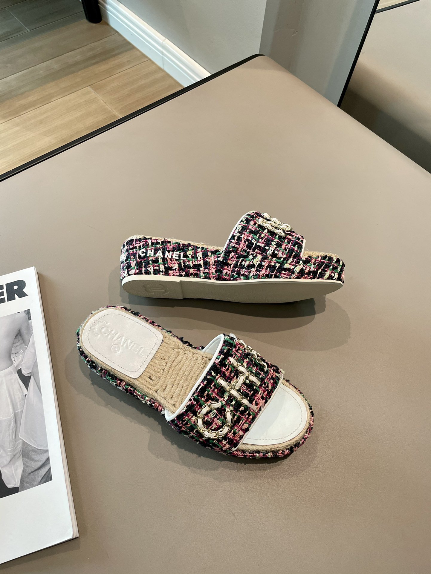 Chanel高版本木屐增高拖鞋