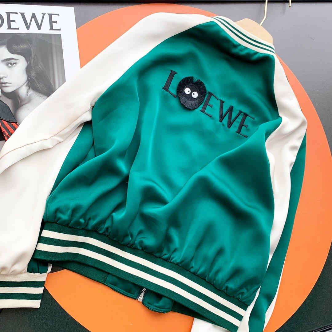 LOEWE撞色防晒棒球服香槟色绿色S