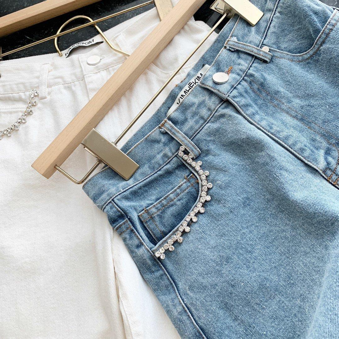 Kim钉钻设计牛仔裤蓝色白色SML超