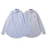 P155amereme小爱心衬衫完美男衬衫精致工艺男女同款采用精棉色织面料质地和做工优秀性价比无敌颜色细蓝白条细黑白条蓝色牛津尺码SMLXL
