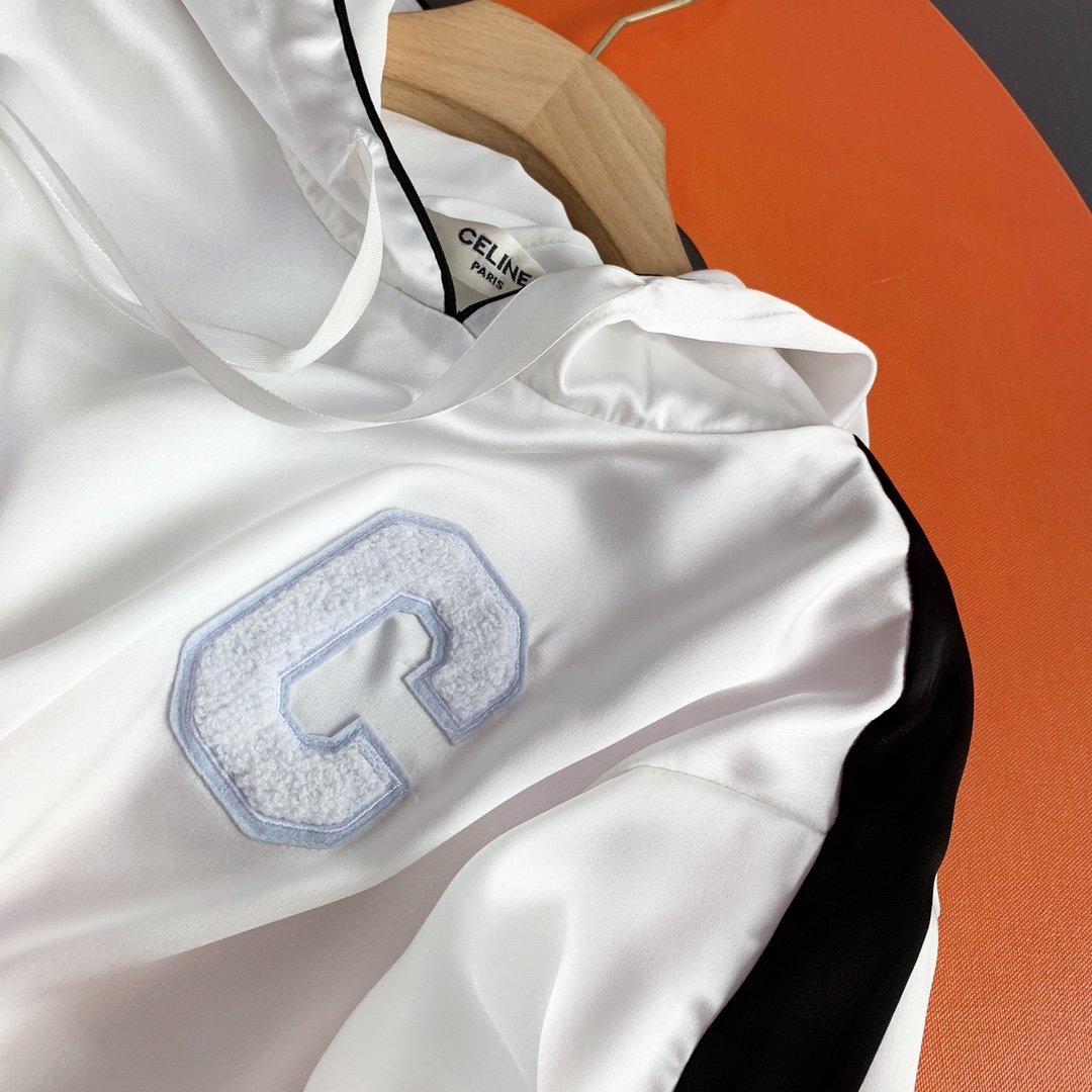 celine醋酸连帽上衣短裤套装白色